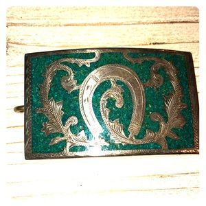Rad silver & turquoise western style belt buckle